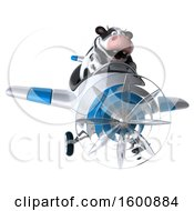 Clipart Of A 3d Holstein Cow Flying A Plane On A White Background Royalty Free Illustration by Julos
