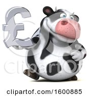 Clipart Of A 3d Holstein Cow Holding A Pound Currency Symbol On A White Background Royalty Free Illustration by Julos