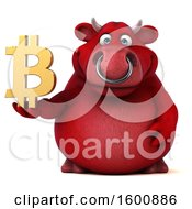 July 16th, 2018: Clipart Of A 3d Red Bull Holding A Bitcoin Symbol On A White Background Royalty Free Illustration by Julos