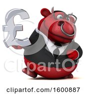 July 16th, 2018: Clipart Of A 3d Red Business Bull Holding A Pound Currency Symbol On A White Background Royalty Free Illustration by Julos