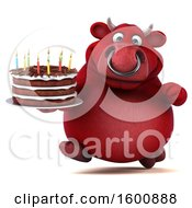 July 16th, 2018: Clipart Of A 3d Red Business Bull Holding A Birthday Cake On A White Background Royalty Free Illustration by Julos