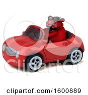 3d Red Bull Driving A Convertible On A White Background