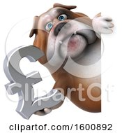 Clipart Of A 3d Bulldog Holding A Pound Currency Symbol On A White Background Royalty Free Illustration by Julos