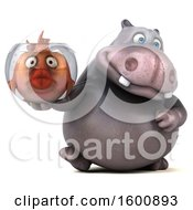 3d Business Hippo Holding A Fish Bowl On A White Background