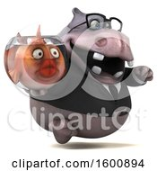 July 16th, 2018: Clipart Of A 3d Business Hippo Holding A Fish Bowl On A White Background Royalty Free Illustration by Julos