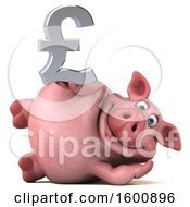 3d Chubby Pig Holding A Pound Currency Symbol On A White Background