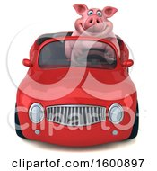 July 16th, 2018: Clipart Of A 3d Chubby Pig Driving A Convertible On A White Background Royalty Free Illustration by Julos