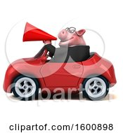 July 16th, 2018: Clipart Of A 3d Chubby Business Pig Driving A Convertible On A White Background Royalty Free Illustration by Julos