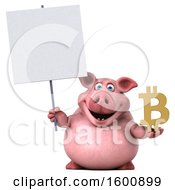 July 16th, 2018: Clipart Of A 3d Chubby Pig Holding A Bitcoin Symbol On A White Background Royalty Free Illustration by Julos