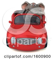 July 16th, 2018: Clipart Of A 3d Elephant Driving A Convertible On A White Background Royalty Free Illustration by Julos