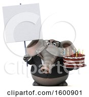 July 16th, 2018: Clipart Of A 3d Business Elephant Holding A Birthday Cake On A White Background Royalty Free Illustration by Julos