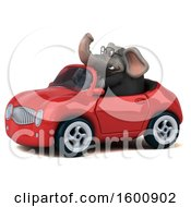 3d Business Elephant Driving A Convertible On A White Background
