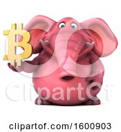 July 16th, 2018: Clipart Of A 3d Pink Elephant Holding A Bitcoin Symbol On A White Background Royalty Free Illustration by Julos