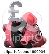 July 16th, 2018: Clipart Of A 3d Pink Business Elephant Holding A Pound Currency Symbol On A White Background Royalty Free Illustration by Julos