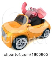 July 16th, 2018: Clipart Of A 3d Pink Business Elephant Driving A Convertible On A White Background Royalty Free Illustration by Julos