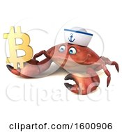 3d Sailor Crab Holding A Bitcoin Symbol On A White Background