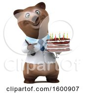3d Brown Doctor Bear Holding A Birthday Cake On A White Background