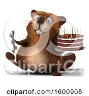 3d Beaver Holding A Wrench And Birthday Cake On A White Background