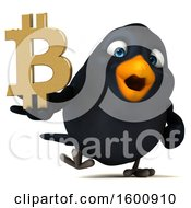 July 16th, 2018: Clipart Of A 3d Black Bird Holding A Bitcoin Symbol On A White Background Royalty Free Illustration by Julos