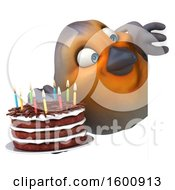 3d Robin Bird Holding A Birthday Cake On A White Background
