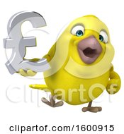 3d Yellow Bird Holding A Pound Currency Symbol On A White Background