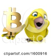 3d Yellow Bird Holding A Bitcoin Symbol On A White Background