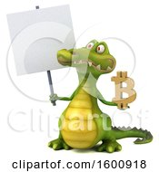 3d Crocodile Holding A Bitcoin Symbol On A White Background