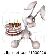 3d Bunny Rabbit Holding A Birthday Cake On A White Background