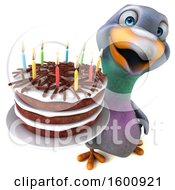 3d Pigeon Holding A Birthday Cake On A White Background