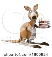 3d Kangaroo Holding A Birthday Cake On A White Background