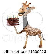 3d Business Giraffe Holding A Birthday Cake On A White Background