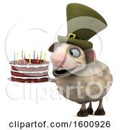 3d Irish Sheep Holding A Birthday Cake On A White Background