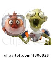 Clipart Of A 3d Green Zombie Holding A Fish Bowl On A White Background Royalty Free Illustration by Julos
