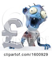 Clipart Of A 3d Blue Zombie Holding A Pound Currency Symbol On A White Background Royalty Free Illustration by Julos