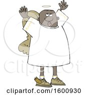 Clipart Of A Black Male Angel Looking Up And Holding His Arms Up Royalty Free Vector Illustration
