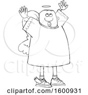 Clipart Of A Lineart Black Male Angel Looking Up And Holding His Arms Up Royalty Free Vector Illustration