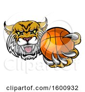 Clipart Of A Tough Bobcat Lynx Monster Mascot Holding Out A Baseball In One Clawed Paw Royalty Free Vector Illustration by AtStockIllustration