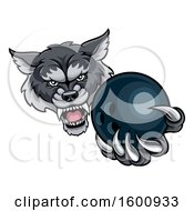 Poster, Art Print Of Tough Wolf Monster Mascot Holding Out A Bowling Ball In One Clawed Paw