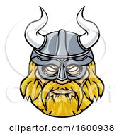 Clipart Of A Tough Blond Male Viking Warrior Face Wearing A Horned Helmet Royalty Free Vector Illustration