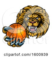Tough Lion Monster Mascot Holding Out A Basketball In One Clawed Paw