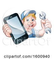 Poster, Art Print Of White Male Mechanic Holding A Spanner Wrench And Smart Phone Over A Sign