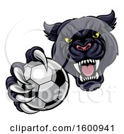 Tough Black Panther Monster Mascot Holding Out A Soccer Ball In One Clawed Paw