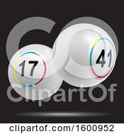 Clipart Of 3d Floating White Bingo Or Lottery Balls Over Black Royalty Free Vector Illustration