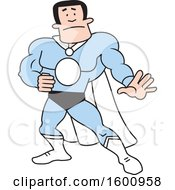 Clipart Of A Cartoon White Male Super Hero With A Blacnk Monogram Royalty Free Vector Illustration