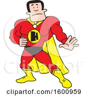 Clipart Of A Cartoon White Male Super Hero With An H Monogram Royalty Free Vector Illustration