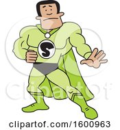 Clipart Of A Cartoon Black Male Captain Safety Super Hero Royalty Free Vector Illustration