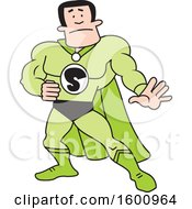 Clipart Of A Cartoon White Male Captain Safety Super Hero Royalty Free Vector Illustration