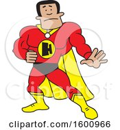 Clipart Of A Cartoon Black Male Super Hero With An H Monogram Royalty Free Vector Illustration