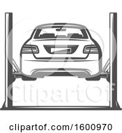 Clipart Of A Rear View Of A Car On A Lift Royalty Free Vector Illustration