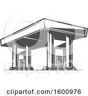 Clipart Of A Gas Station Royalty Free Vector Illustration